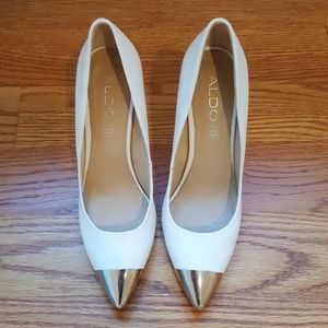 Silver tipped white leather Aldo heels